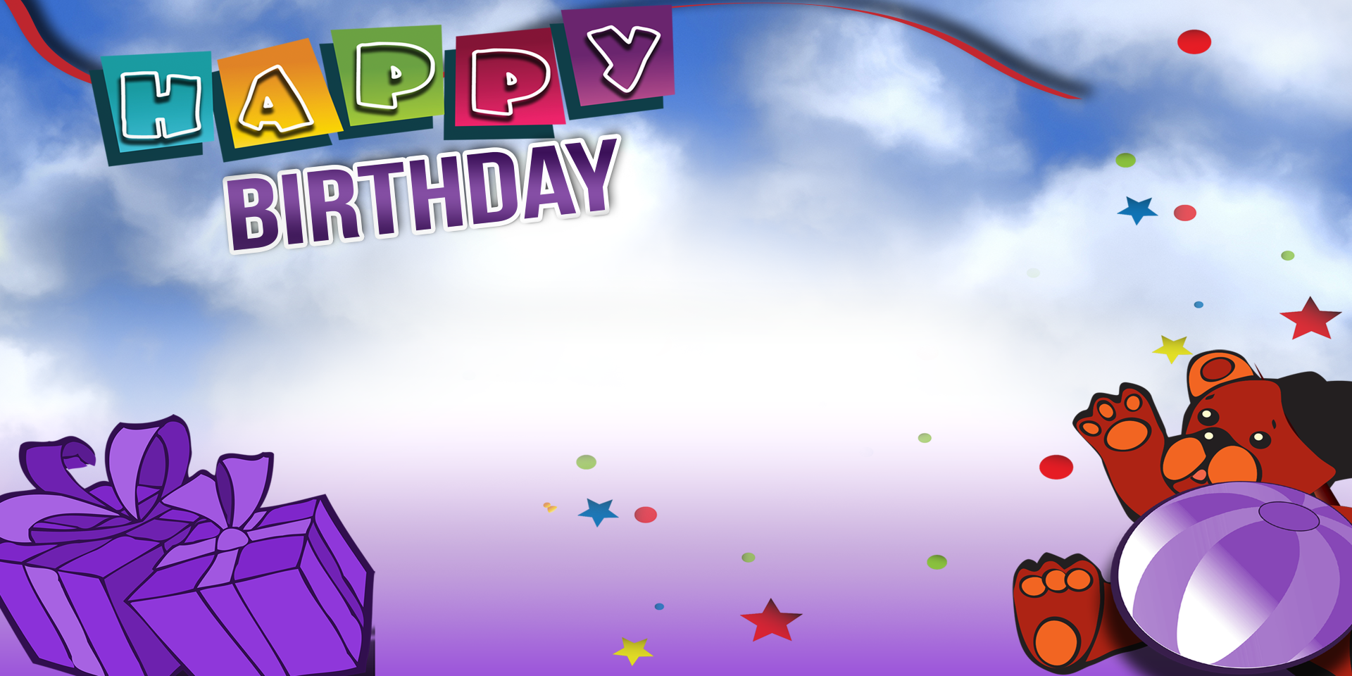 Favorite Happy Birthday Banner - Purple Bear - Vinyl Banners | Gatorprints HN59