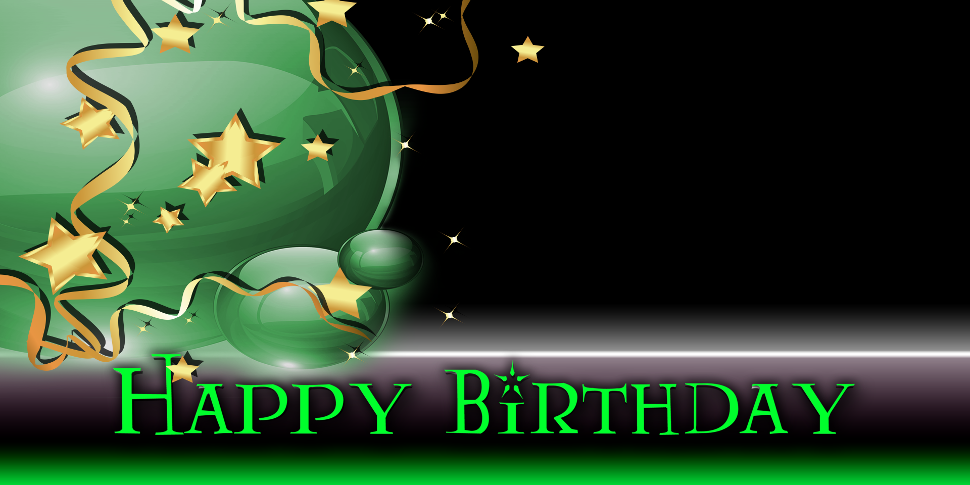 Top Happy Birthday Banner - Star Balloon Green - Vinyl Banners  EH35