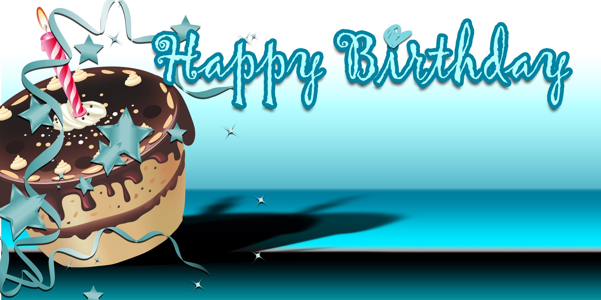 birthday banners cake teal