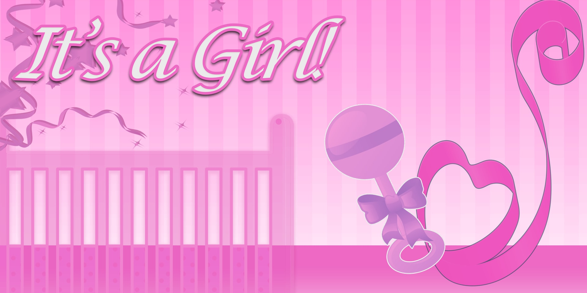 Its A Girl Banner Template Baby Shower Ban...