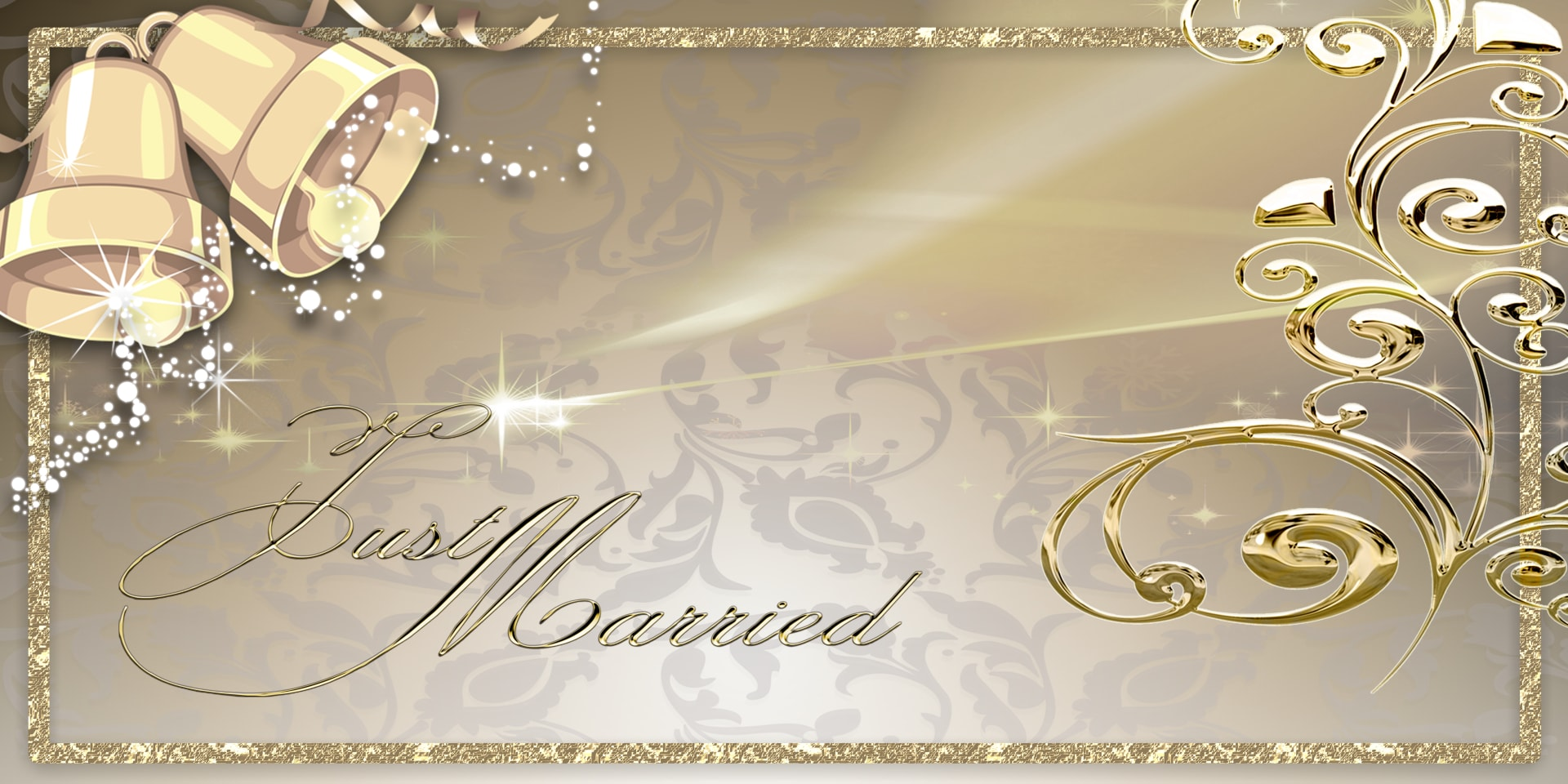 Wedding Banners Bells Gold