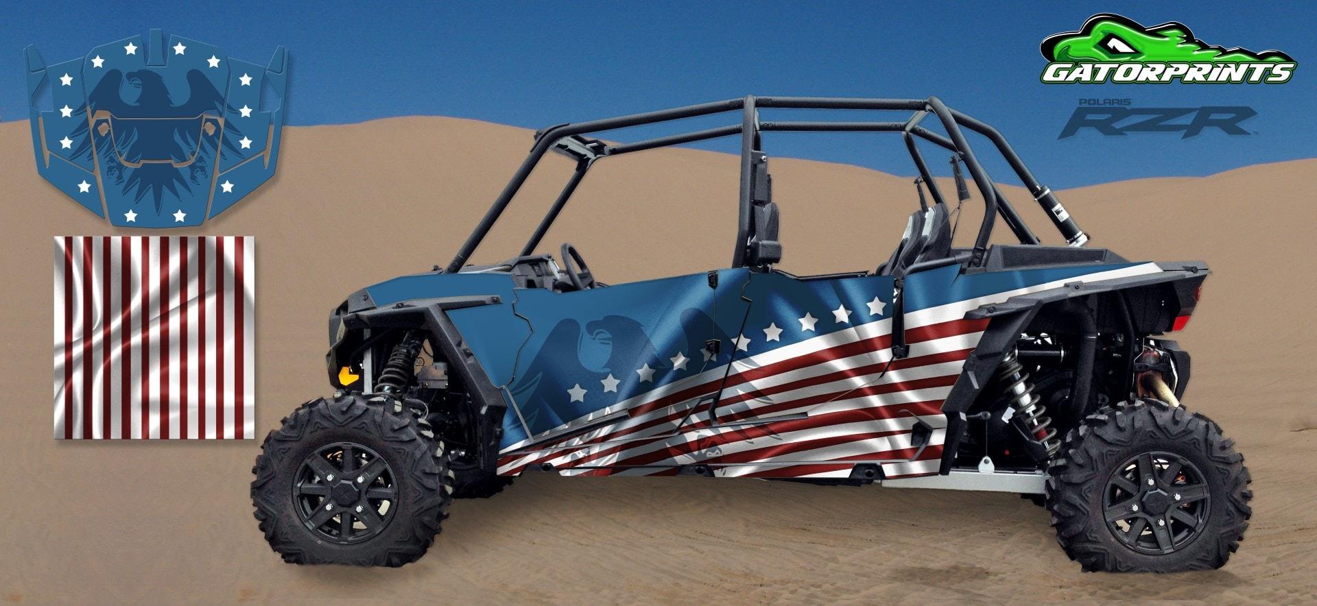 Polaris RZR XP 4 1000 Decal Kits | USA American Flag Design