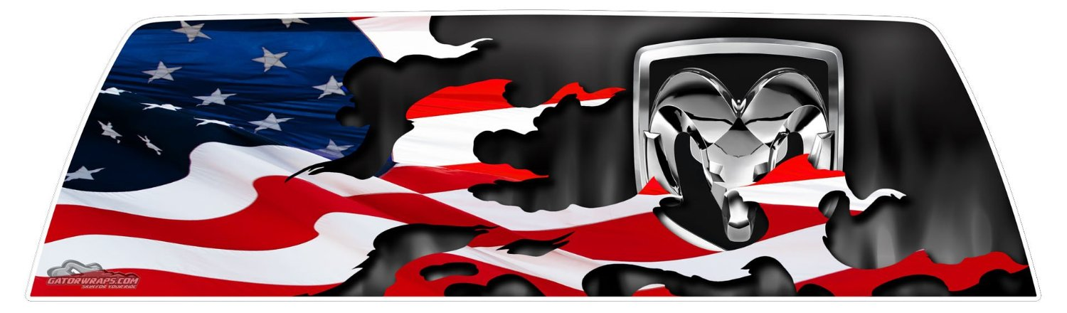 Dodge Patriotic Flag Window Graphics Gatorprints